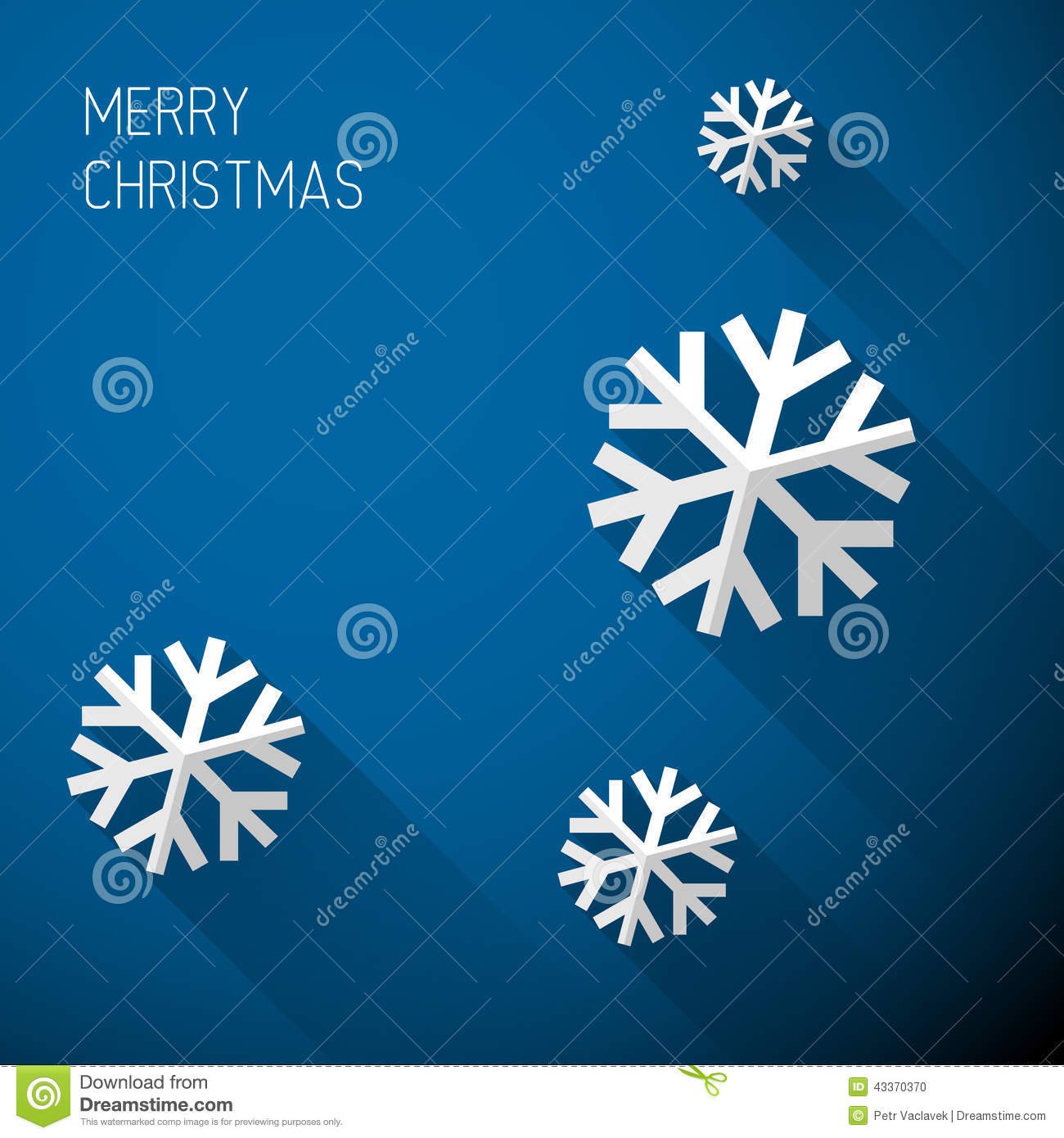 Modern Blue Christmas Card With Flat Design Stock Vector