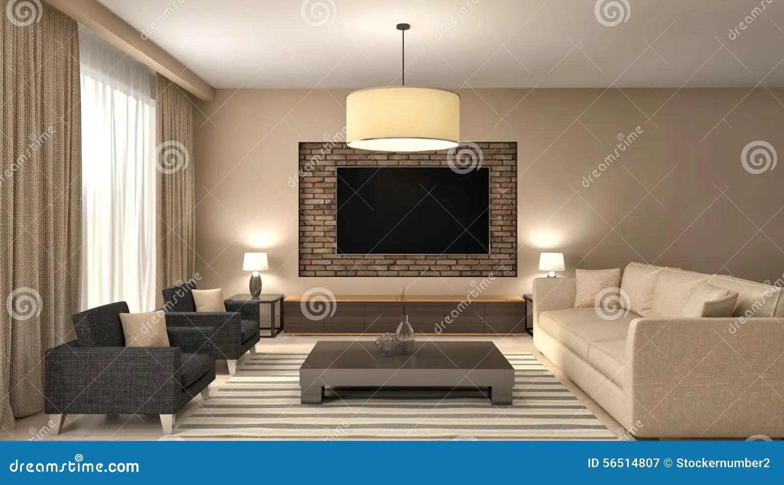 Modern Brown Living Room Interior Design 3d Illustration