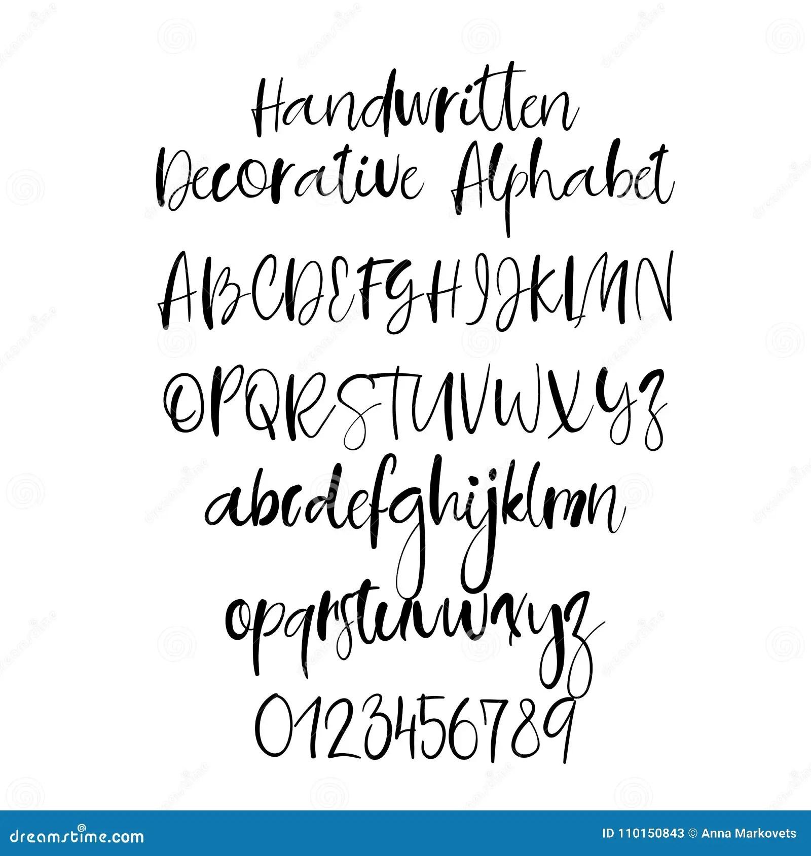 Decorative Hand Drawn Alphabet Handwritten Brush Font