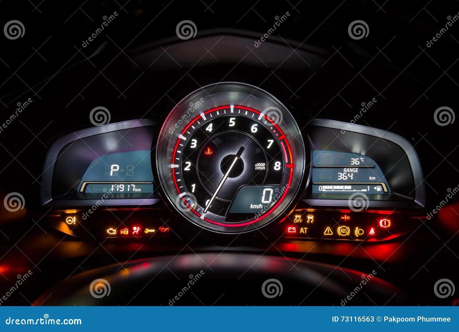 Modern Car Instrument Dashboard Panel Or Speedometer Stock
