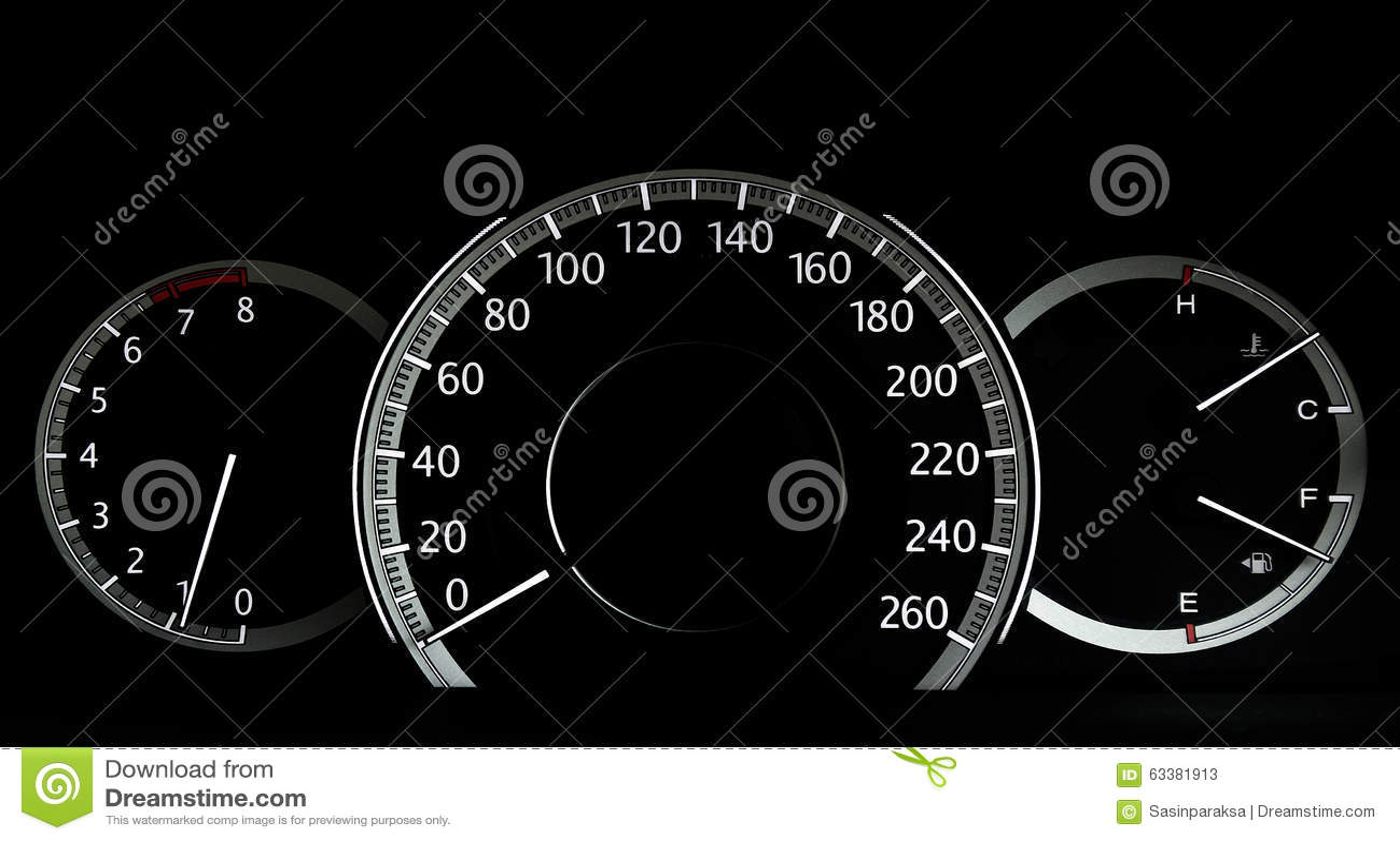 Modern Car Instruments Panel Stock Image