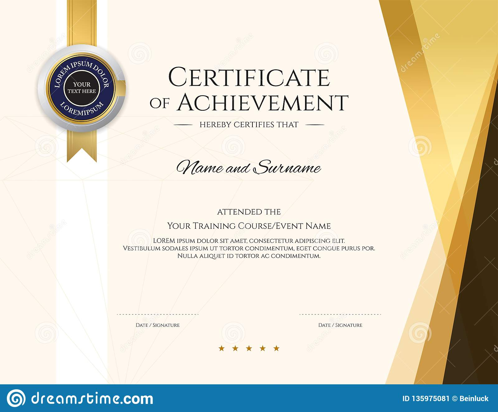 Modern Certificate Template With Elegant Border Frame Diploma Design For Graduation Or