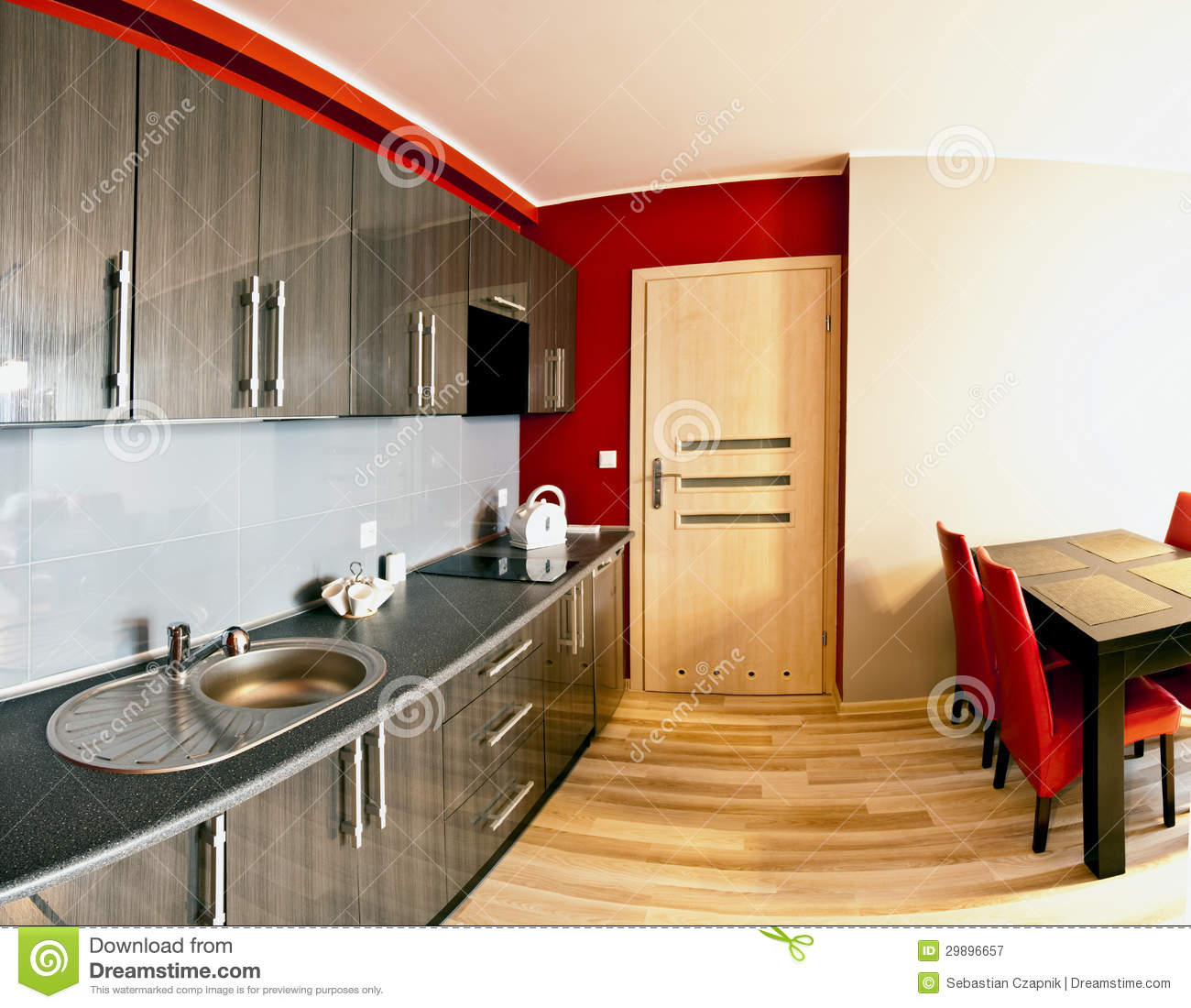 Combined Kitchen And Dining Room Royalty Free Stock