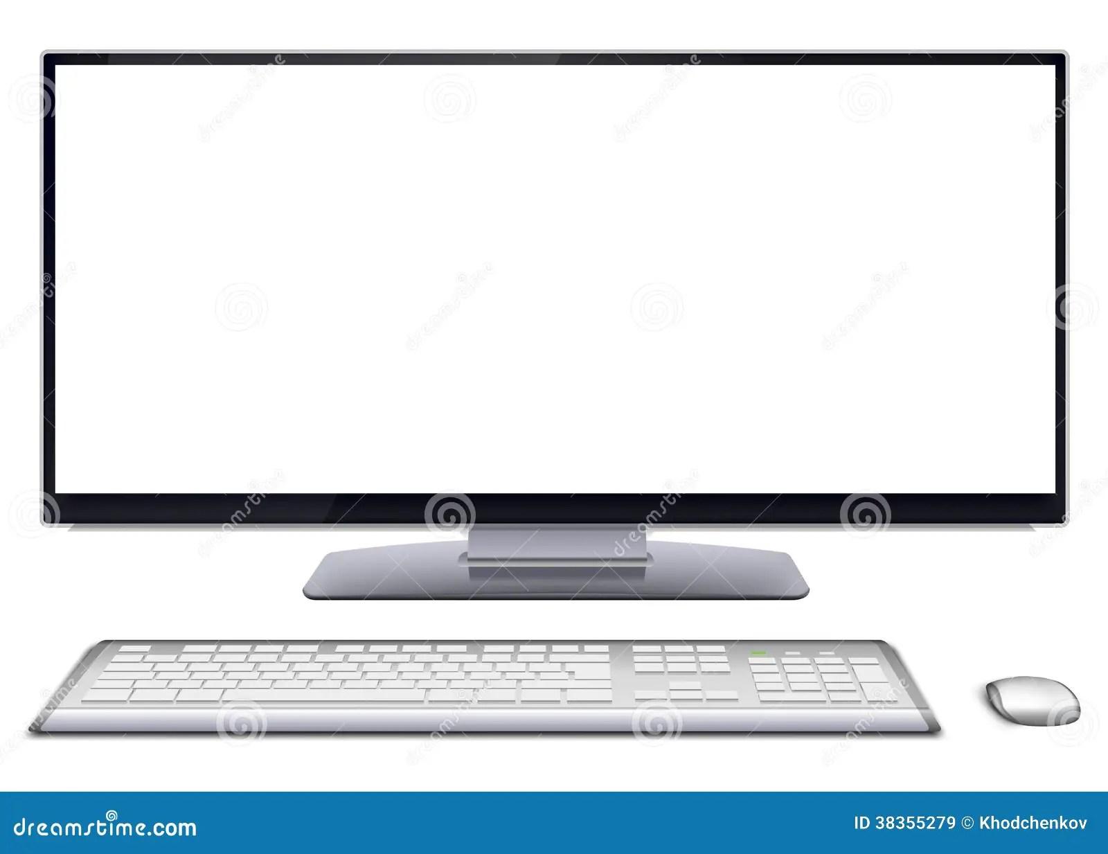 Modern Desktop Computer With Blank Screen Stock Vector