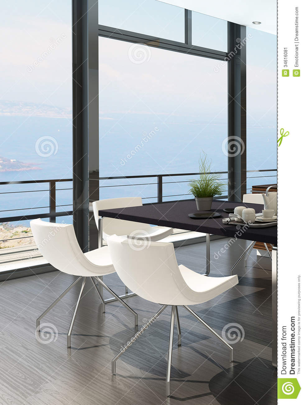Modern Dining Table Against Floor To Ceiling Window With
