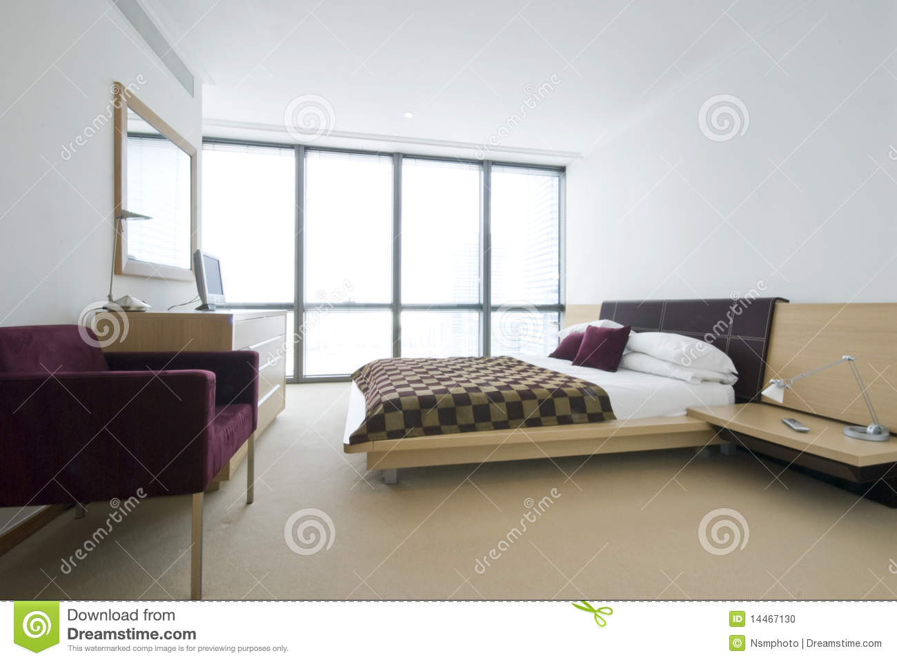 Modern Double Bedroom With King Size Bed Stock Photo