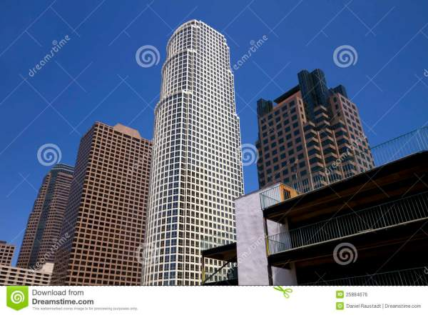 Modern Downtown City Of Los Angeles Buildings Stock Photo