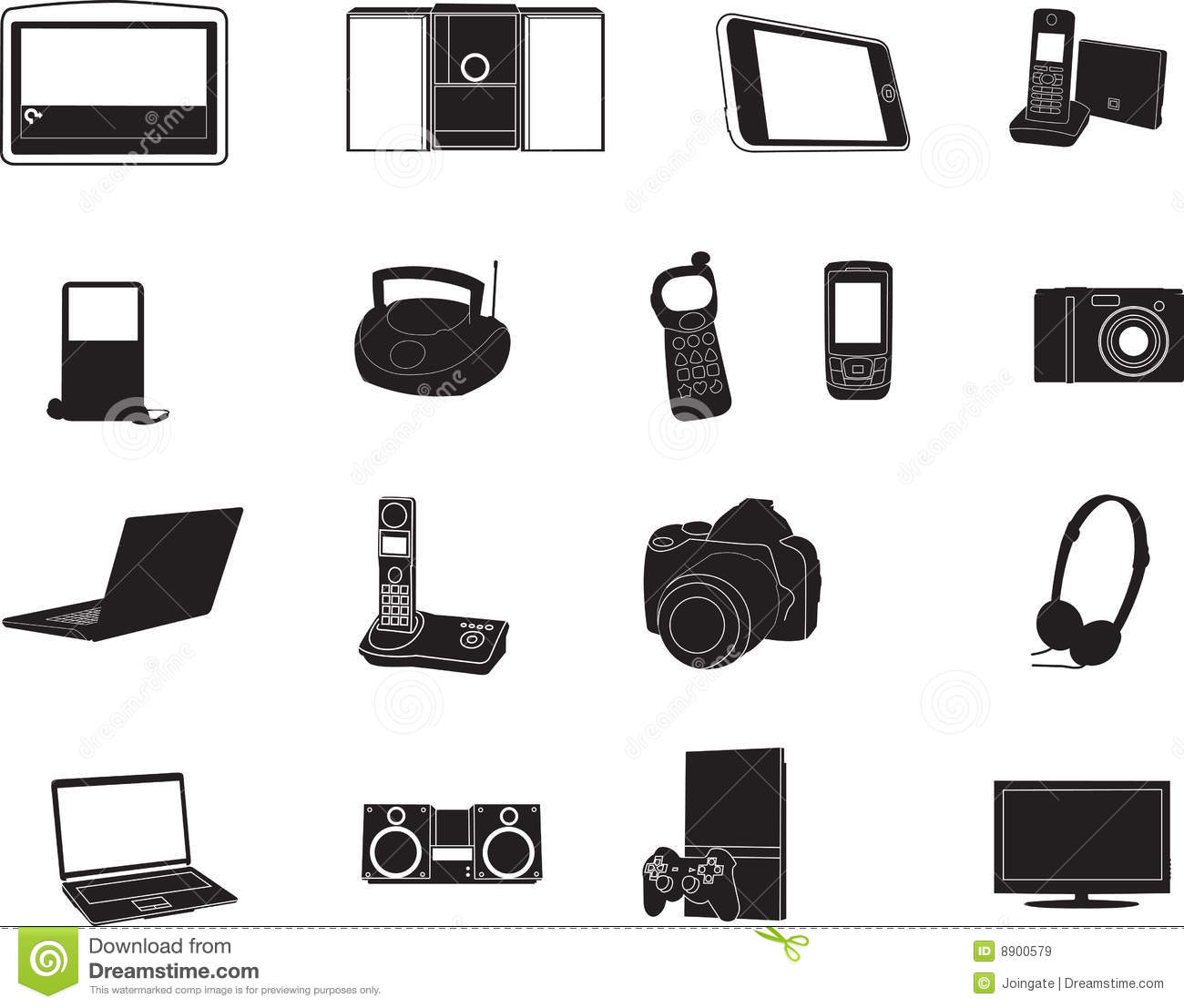 Modern Electronic Silhouettes Stock Vector