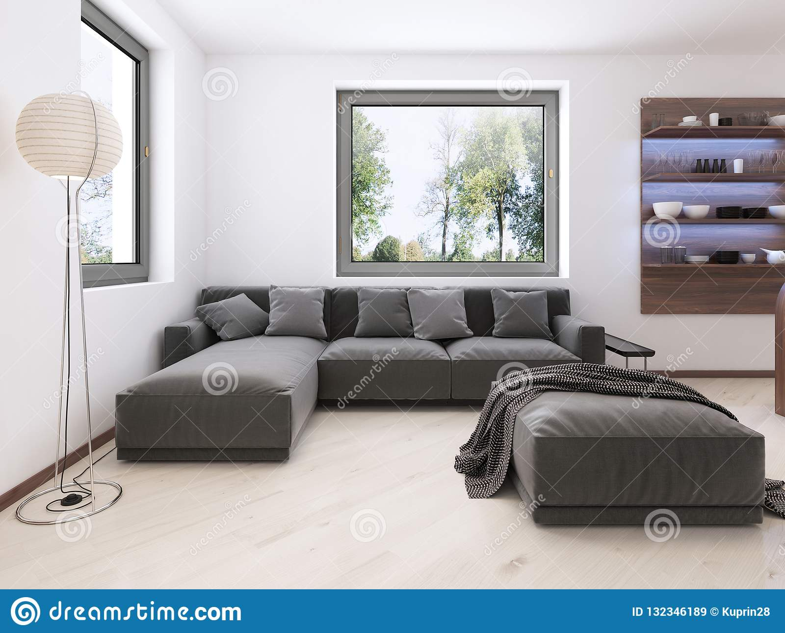 Modern Gray Sofa In The Contemporary Style Lounge Stock Illustration Illustration Of Frame Elegance 132346189