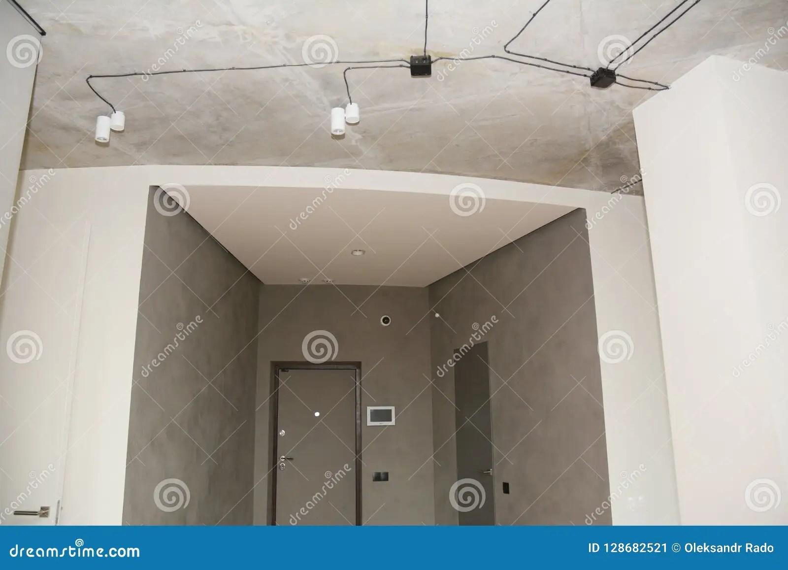 https www dreamstime com modern house lighting design entrance hall sma smart technology near door ceiling lamp image128682521