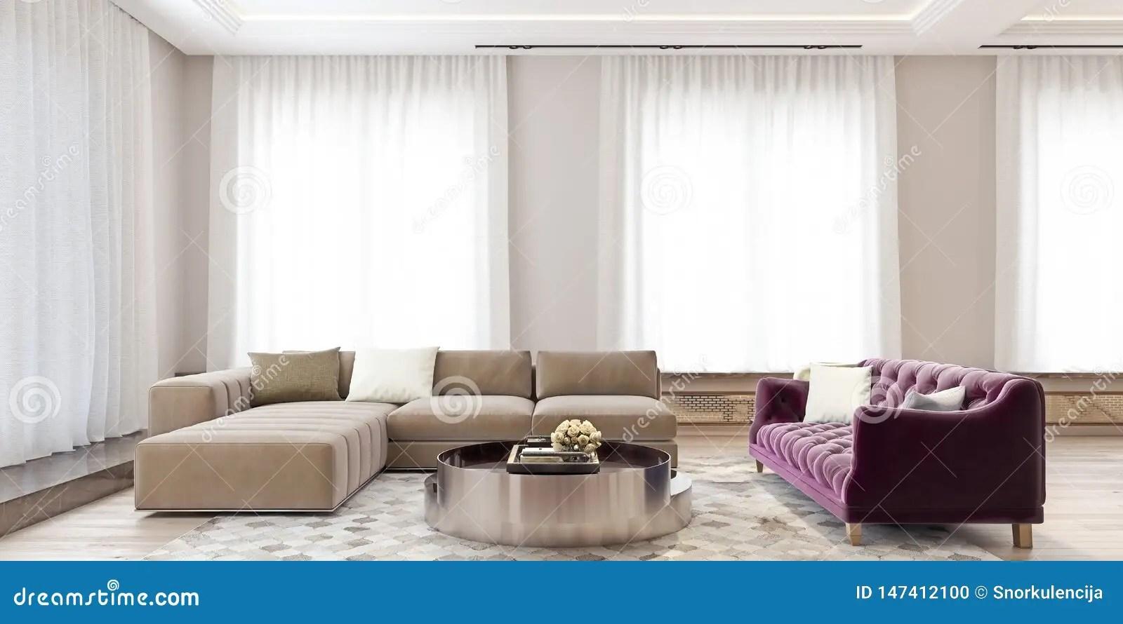 Modern Interior Design Of A Big Living Room With Angled Sofa
