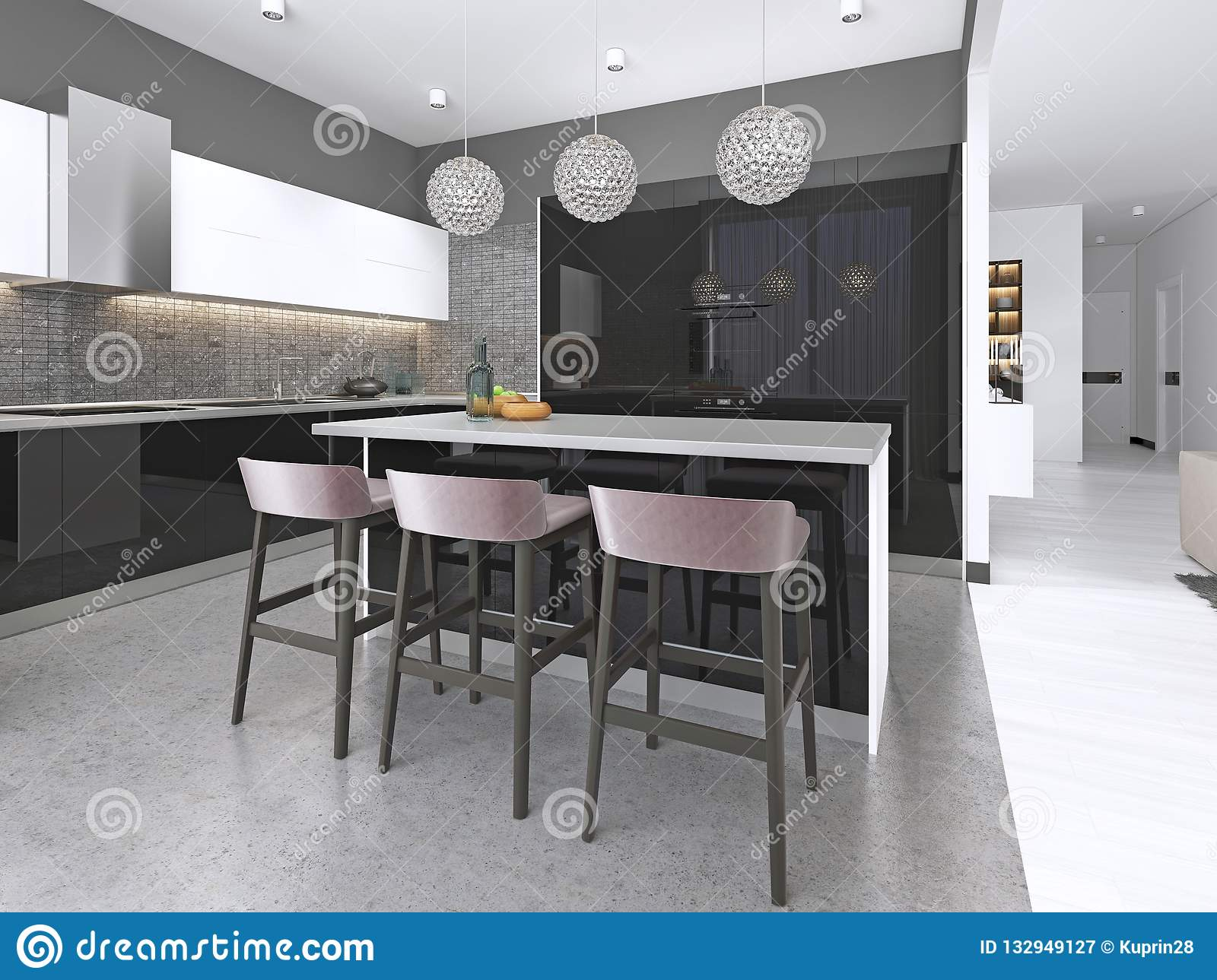 Modern Kitchen With An Island And Bar Stools With Built In Appliances Stock Illustration Illustration Of Furnishing Interior 132949127