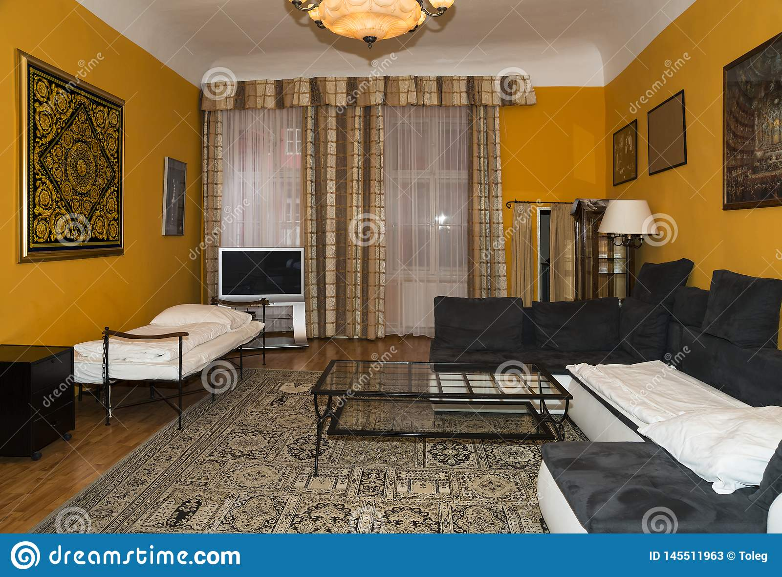 Modern Living Room Design With Yellow Walls Carpet On The Floor And Curtains On The Windows Editorial Stock Photo Image Of Rest Soft 145511963