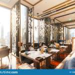 Modern Luxury Decorated Interior Restaurant That Can View Bangkok Cityscape Elegant Design For Fine Dining Stock Image Image Of Drink Dinner 133881909