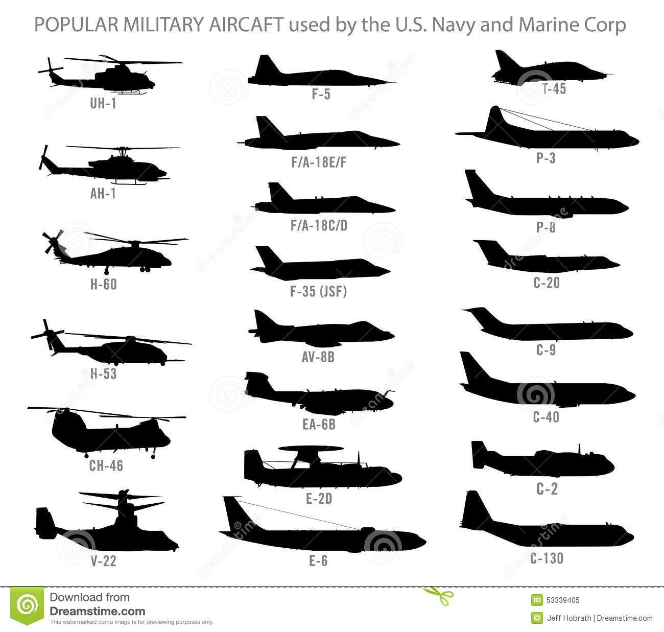 Modern Military Aircraft Silhouettes Stock Vector