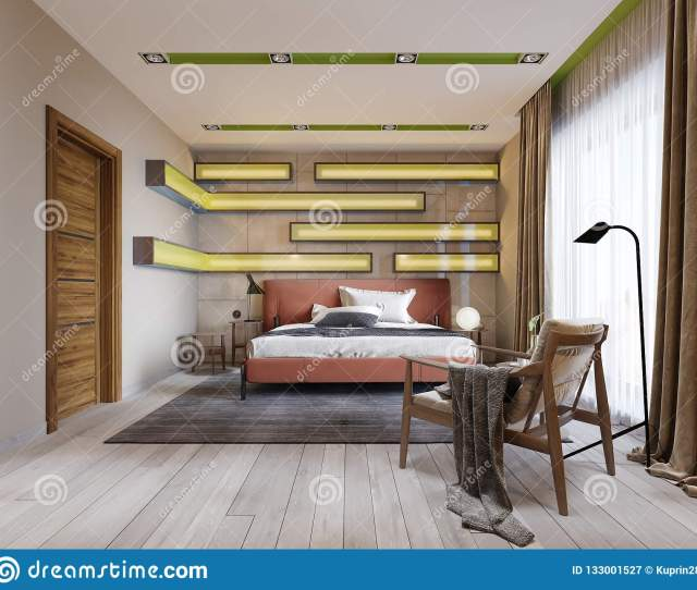 Modern Multi Colored Bedroom With Shelves On The Wall With Green Lighting Under The Frosted