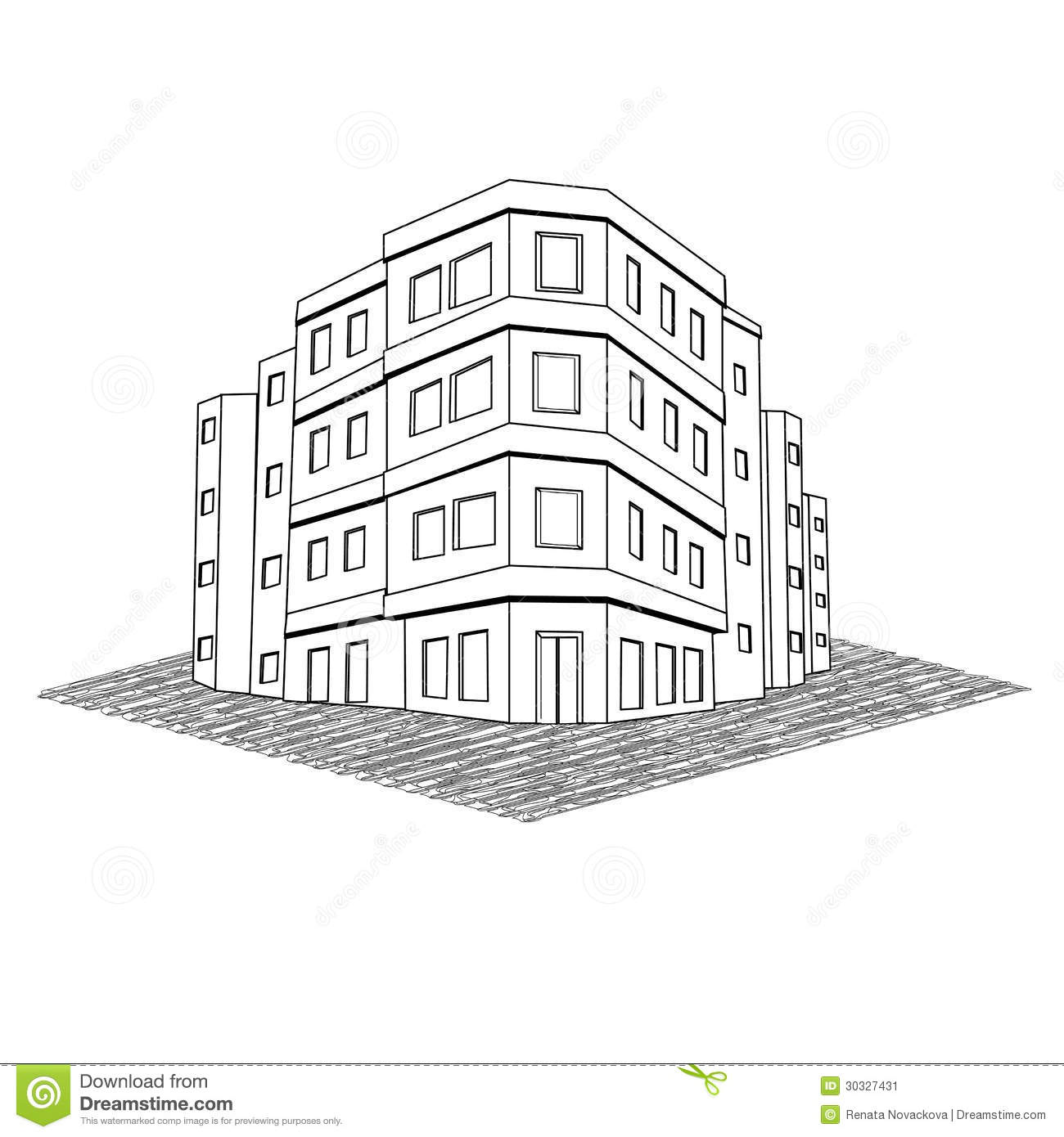 Modern Office Building Tenement Real Estate Stock Image