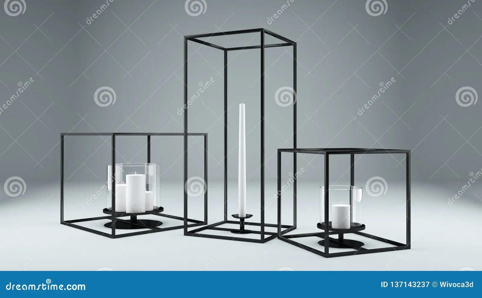 Modern Rectangular Metal Framed Candle Holder Stock Illustration Illustration Of Rectangular Candle 137143237