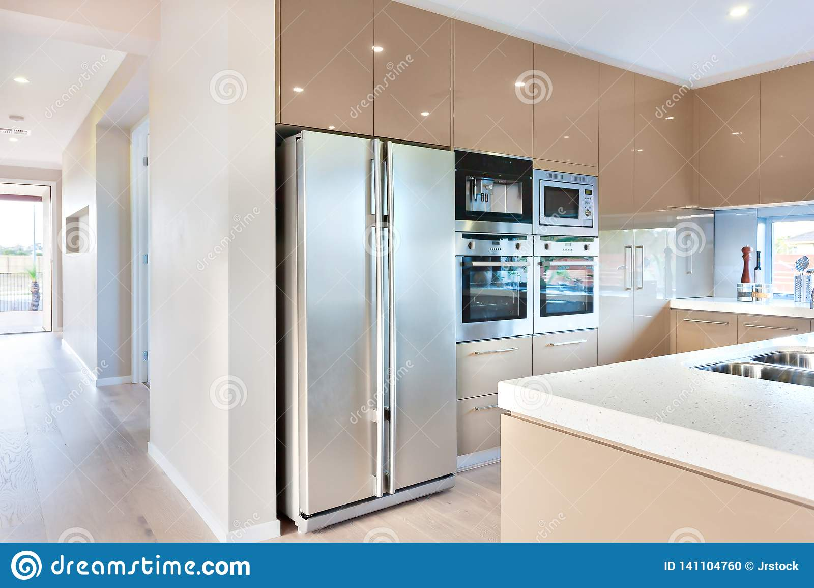 https www dreamstime com modern refrigerator luxury kitchen microwave ovens expensive kitchenware including silver color tall two door four image141104760