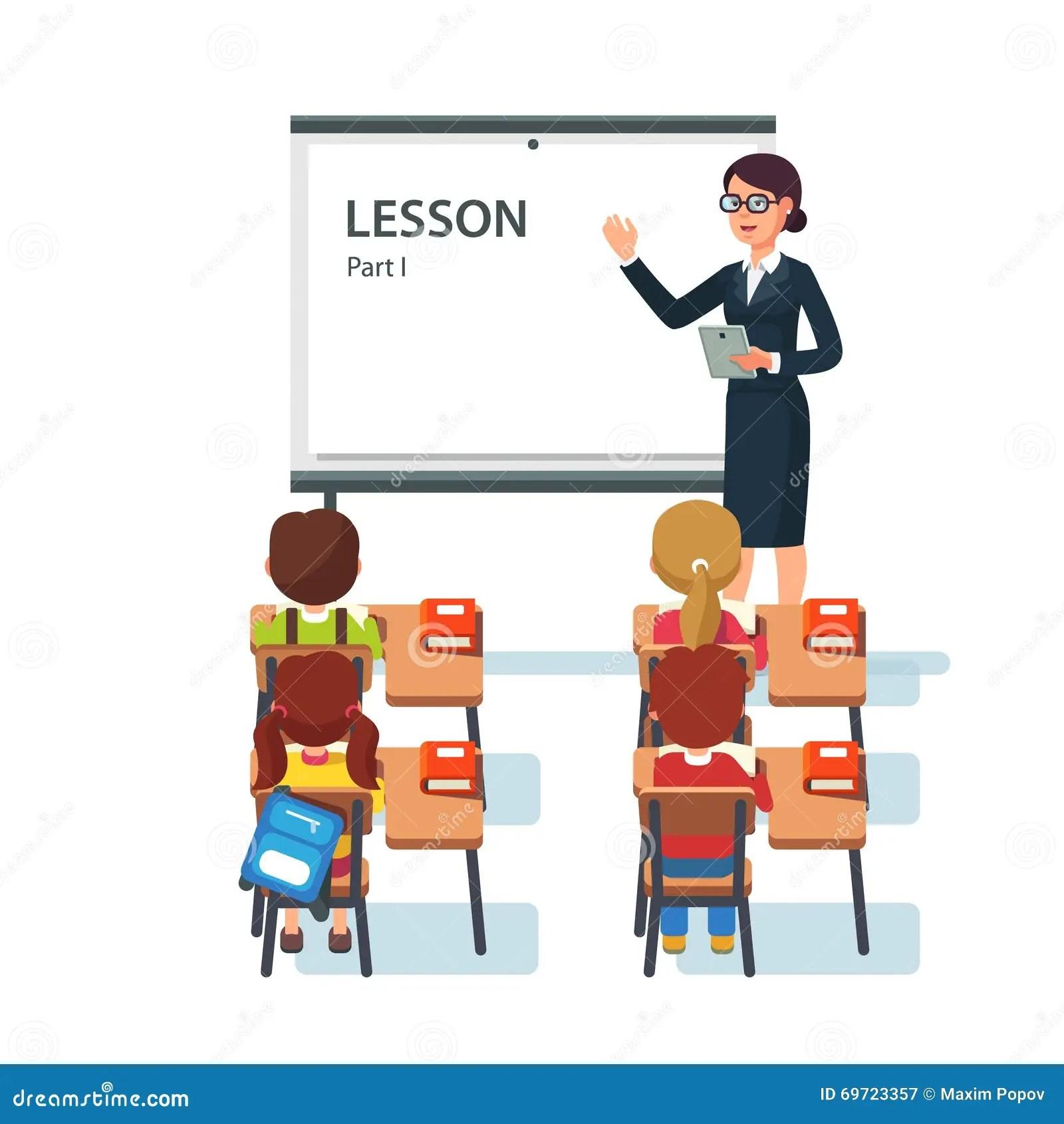 Modern School Lesson Little Students And Teacher Cartoon