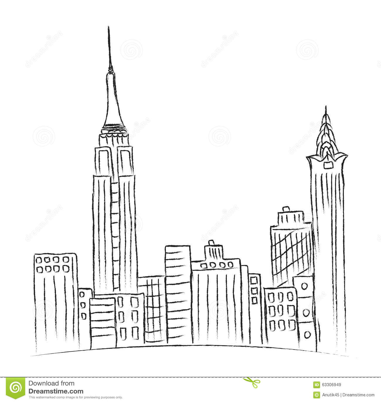 Modern Stad New York Schets Stadslijn Vector