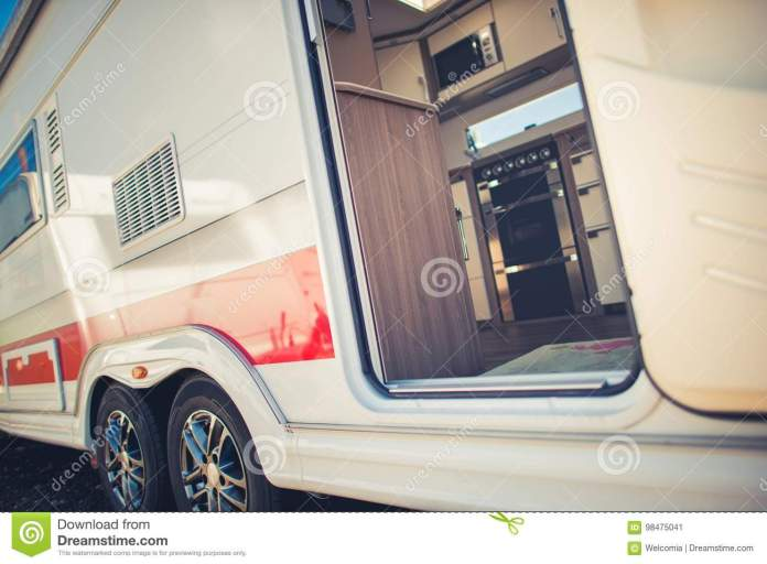modern travel trailer camping stock image - image of trailer, door