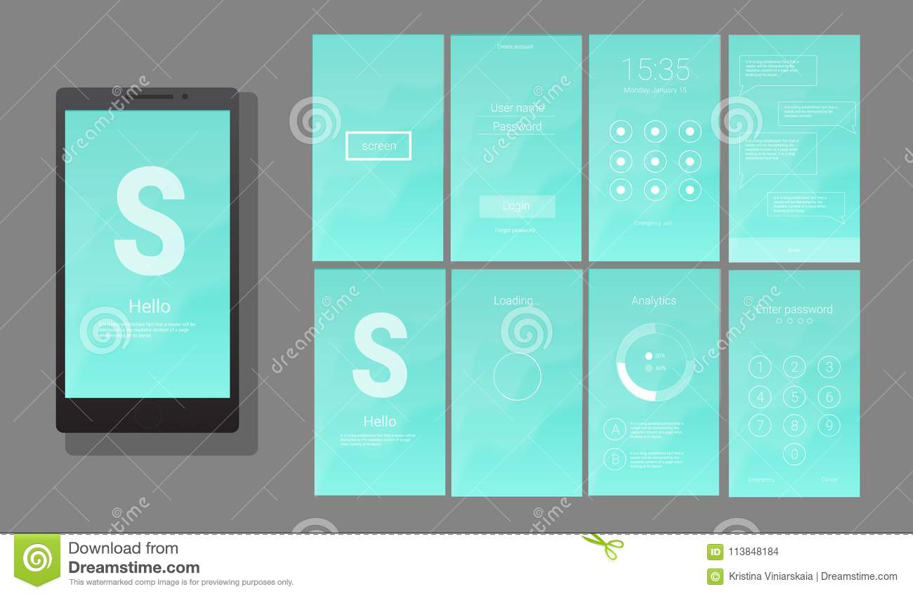 Modern UI  GUI Screen Vector Design Stock Vector   Illustration of     Download comp