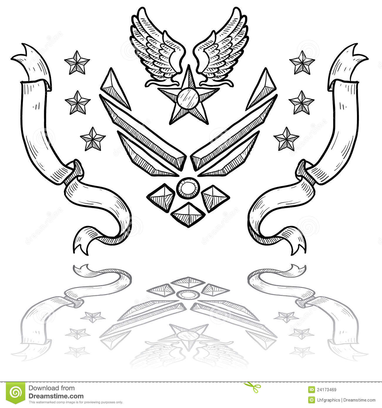 Modern Us Air Force Insignia With Ribbons Stock Vector