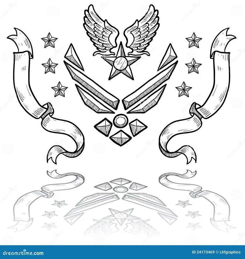 modern us air force insignia  ribbons stock vector