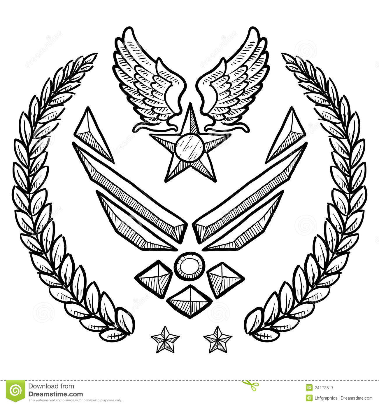 Modern Us Air Force Insignia With Wreath Royalty Free