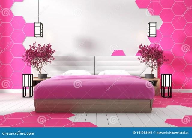 Modern White Bedroom Design Pink Hexagon Tile Zen Style 3d Rendering Stock Illustration Illustration Of Modern Bedroom 151958445