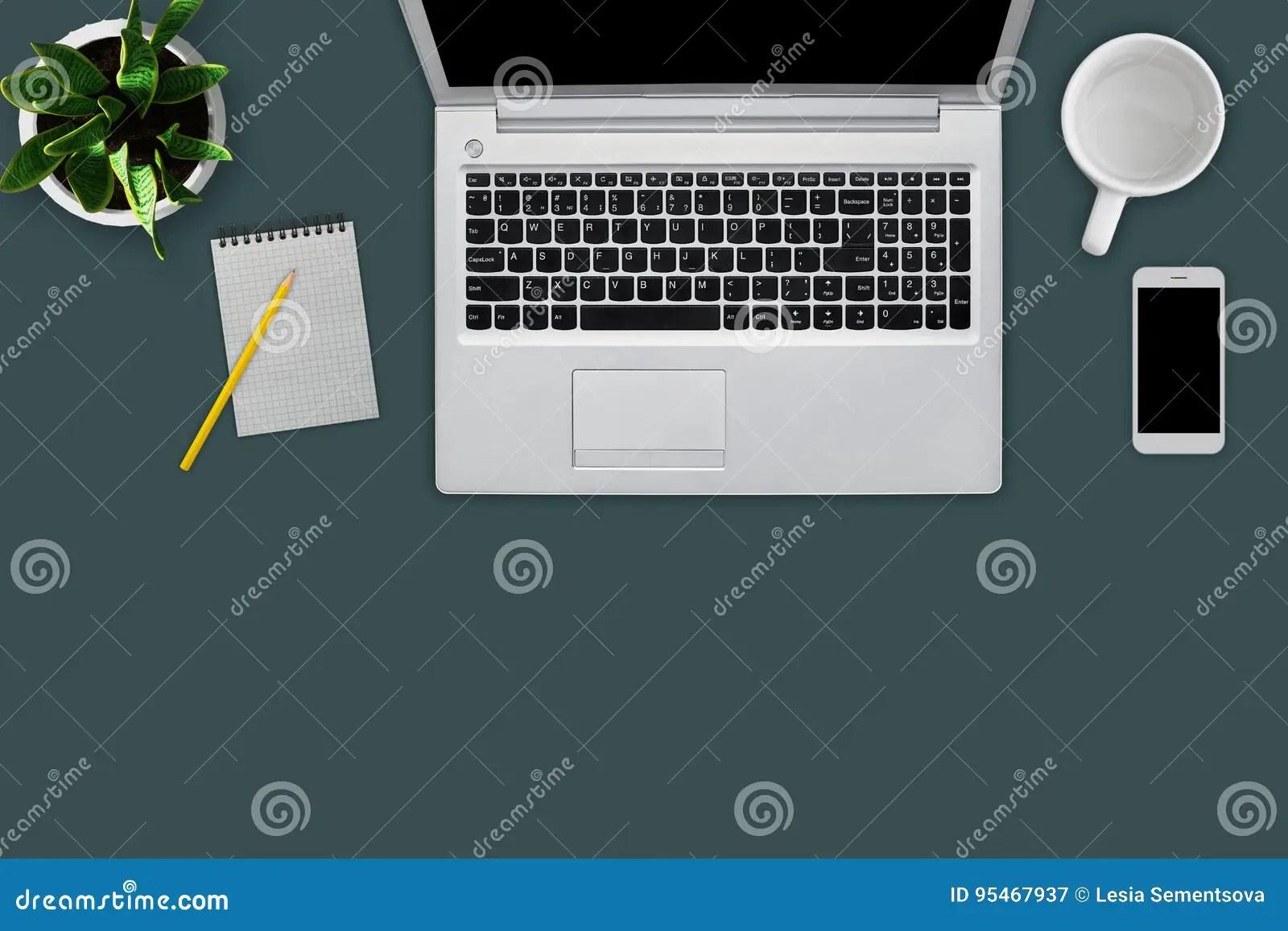 Modern Workplace With Digital Computer Cell Phone Mug