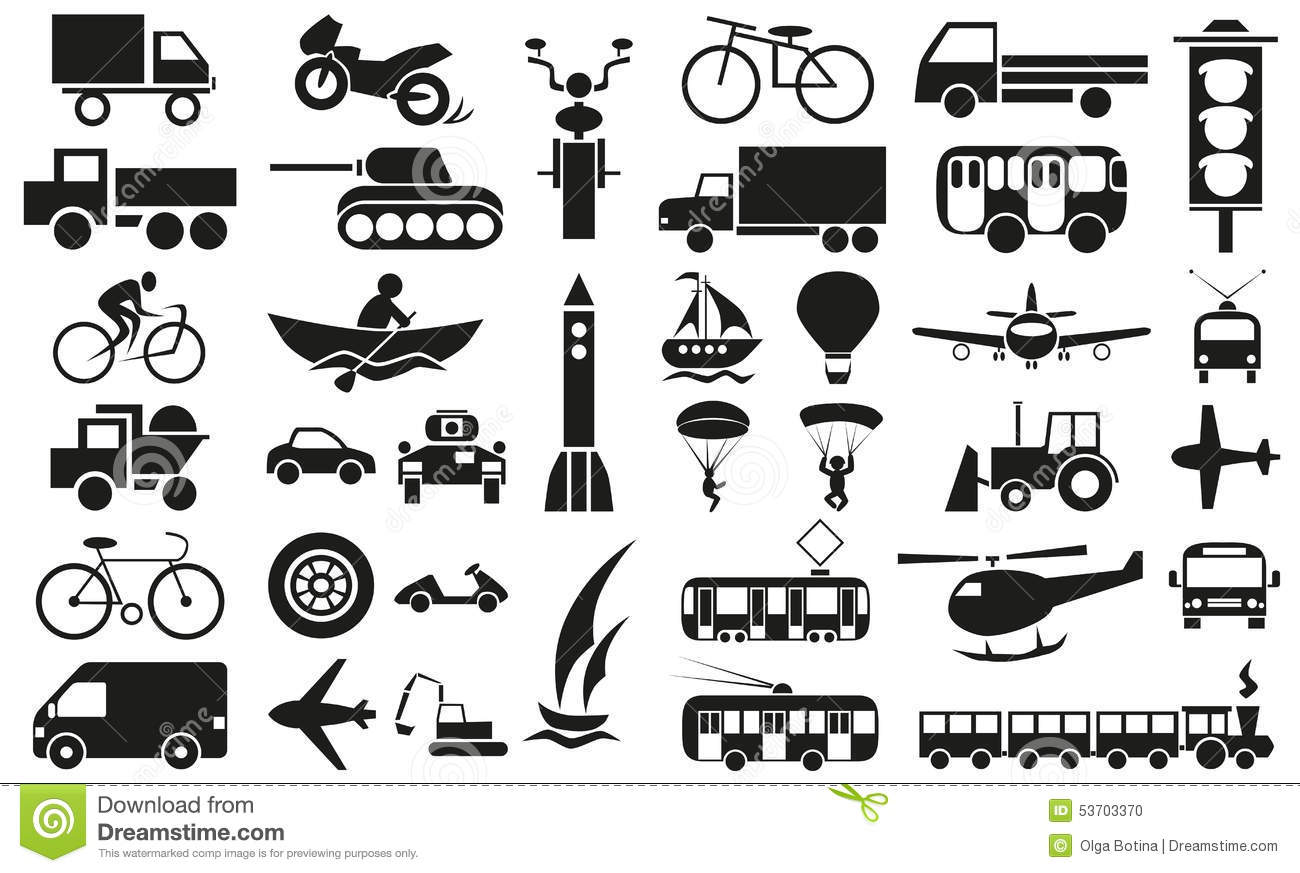 Modes Of Transportation Icons On White Stock Vector