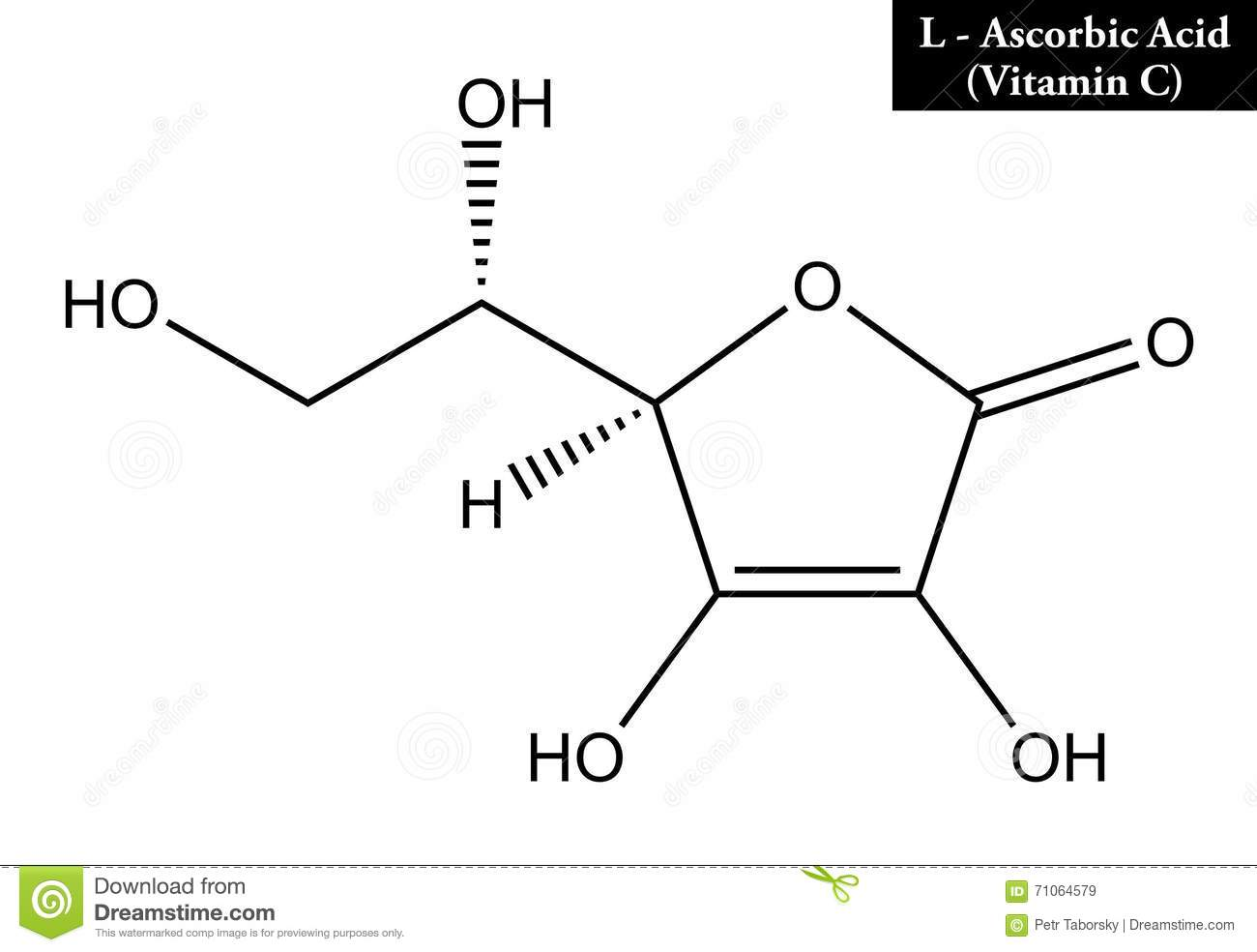Molecular Structure Of Ascorbic Acid Vitamin C Stock