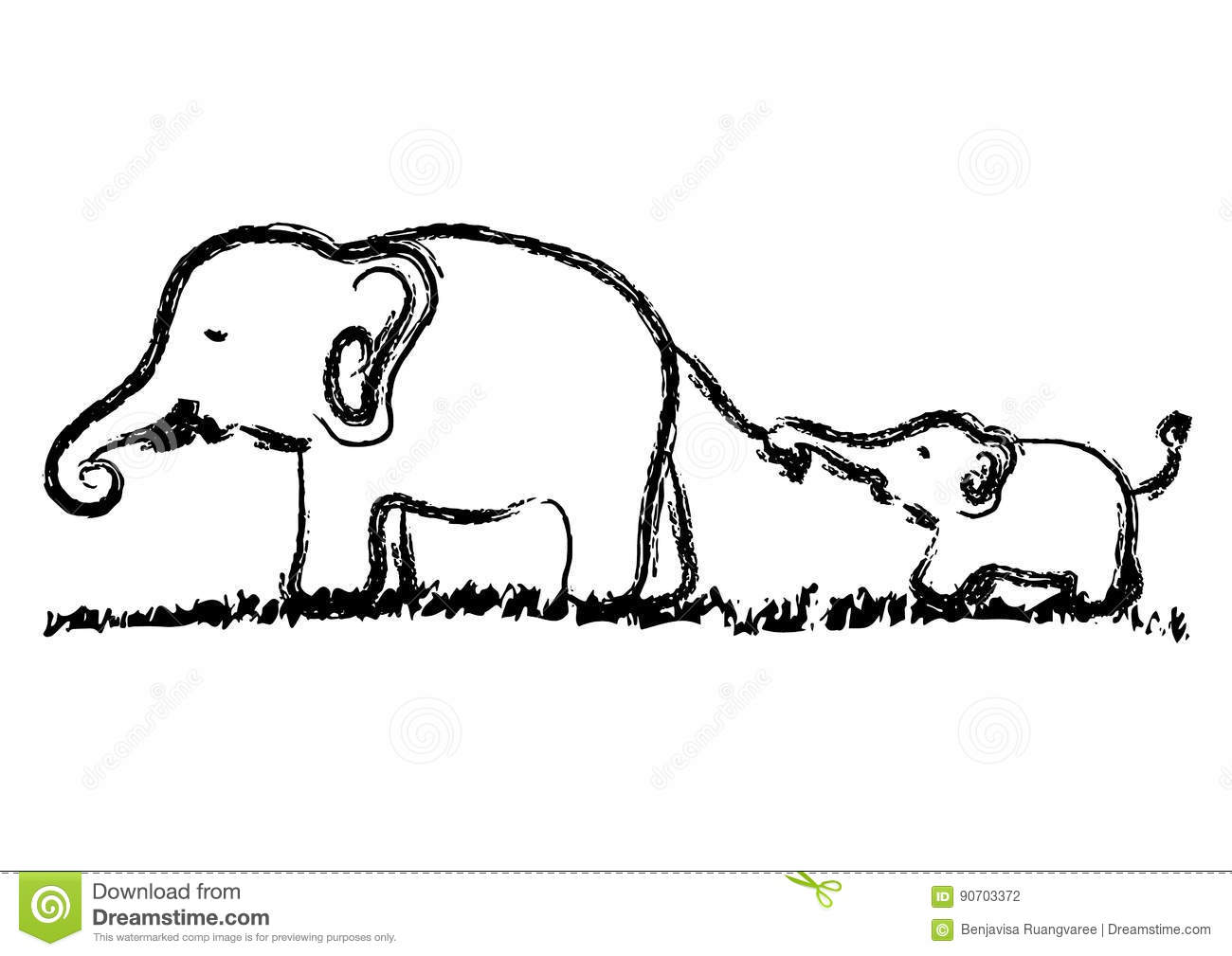 Mom And Baby Elephants Vector Hand Drawn Illustration