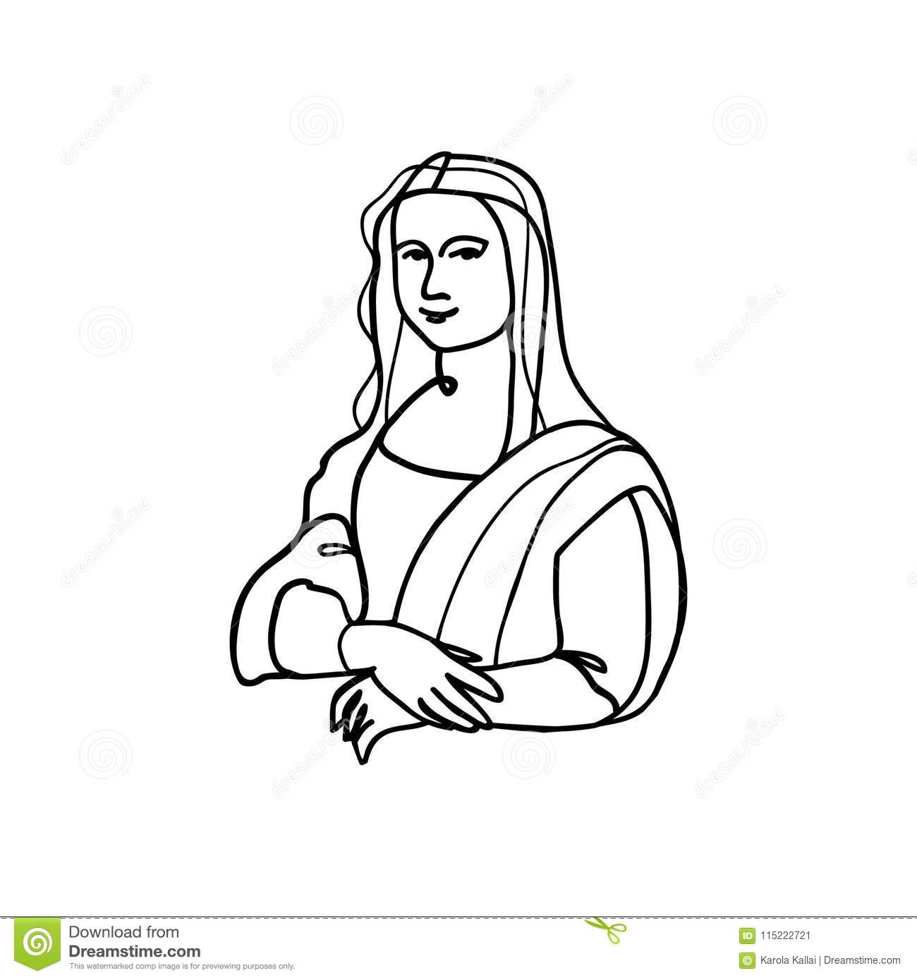 Mona Lisa Line Art Stock Vector Illustration Of Famous