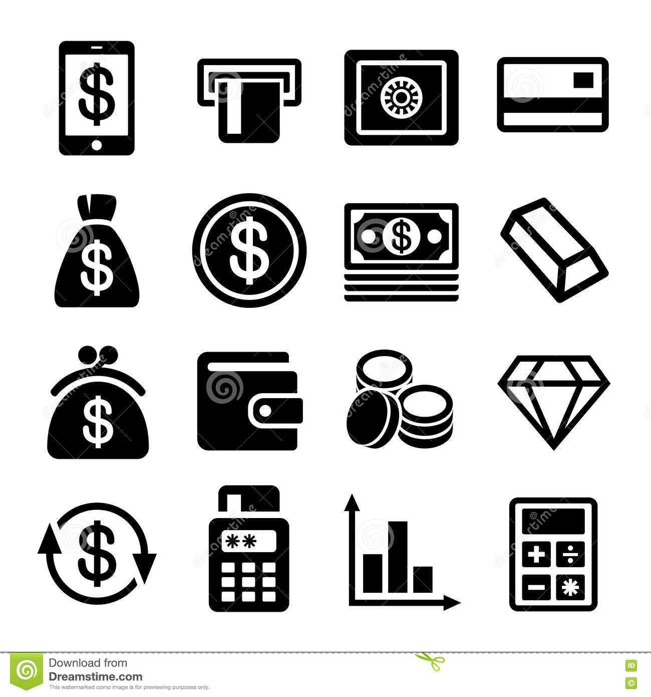 Money And Bank Icon Set Stock Vector Illustration Of