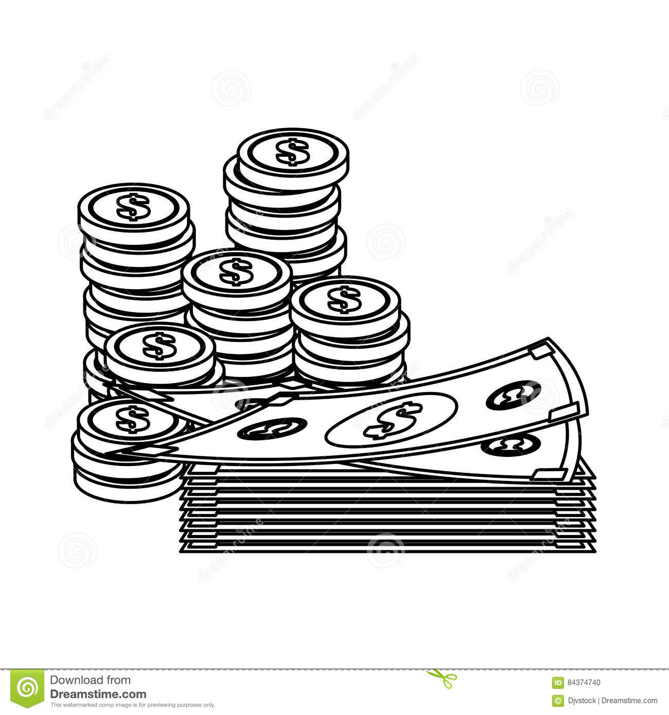 Money Bills And Coins Stock Illustration Illustration Of