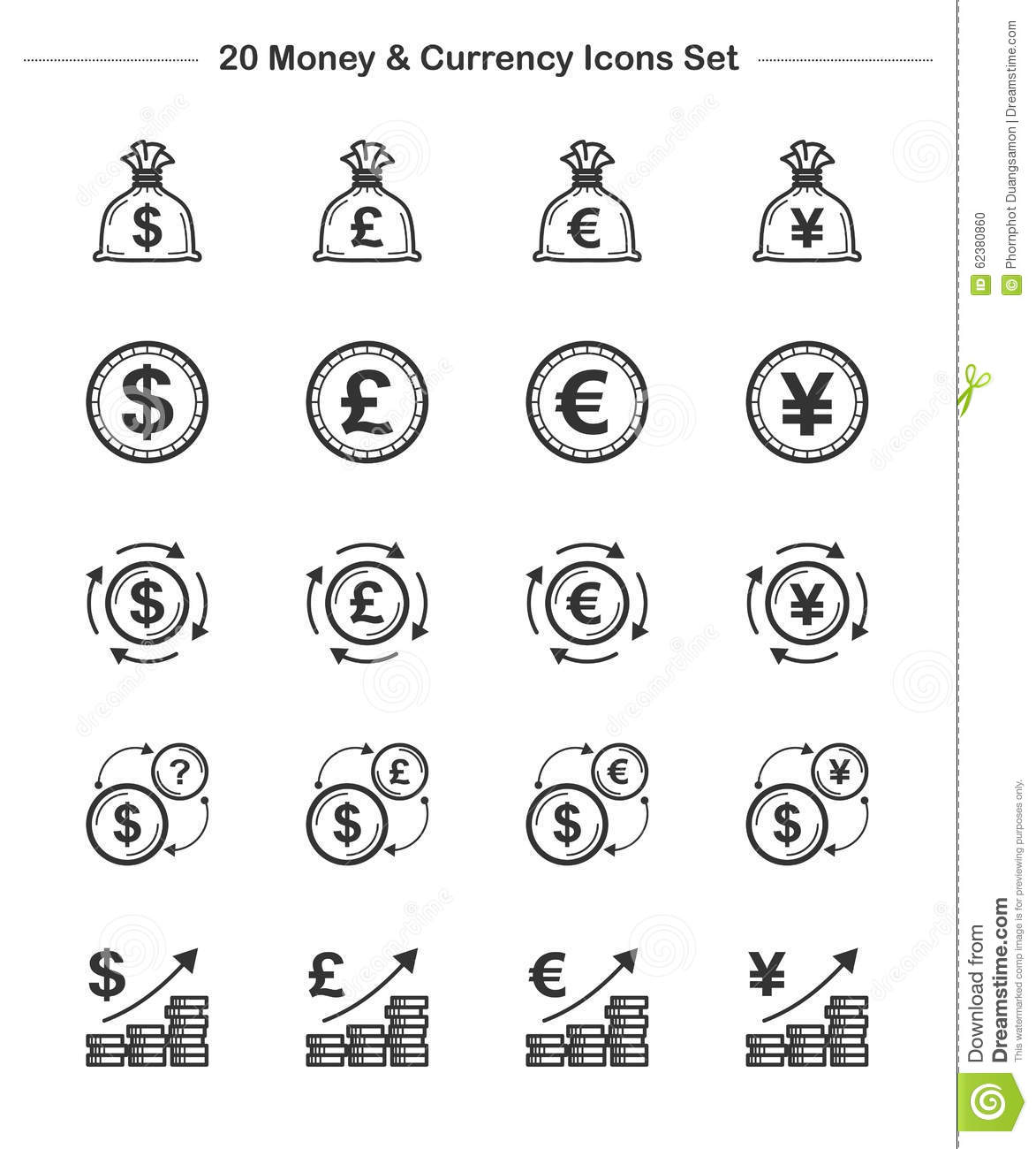 Money Amp Currency Icons Set Line Thickness Icons Stock