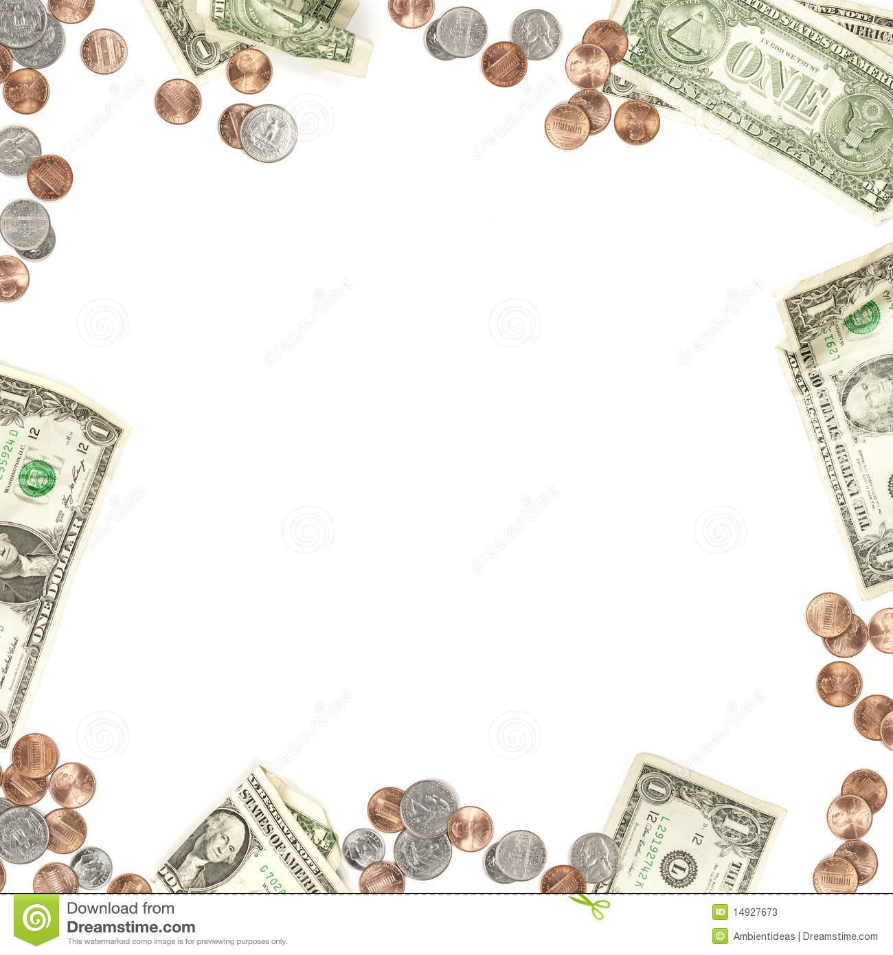 Money Paper And Coin Currency Border Stock Image