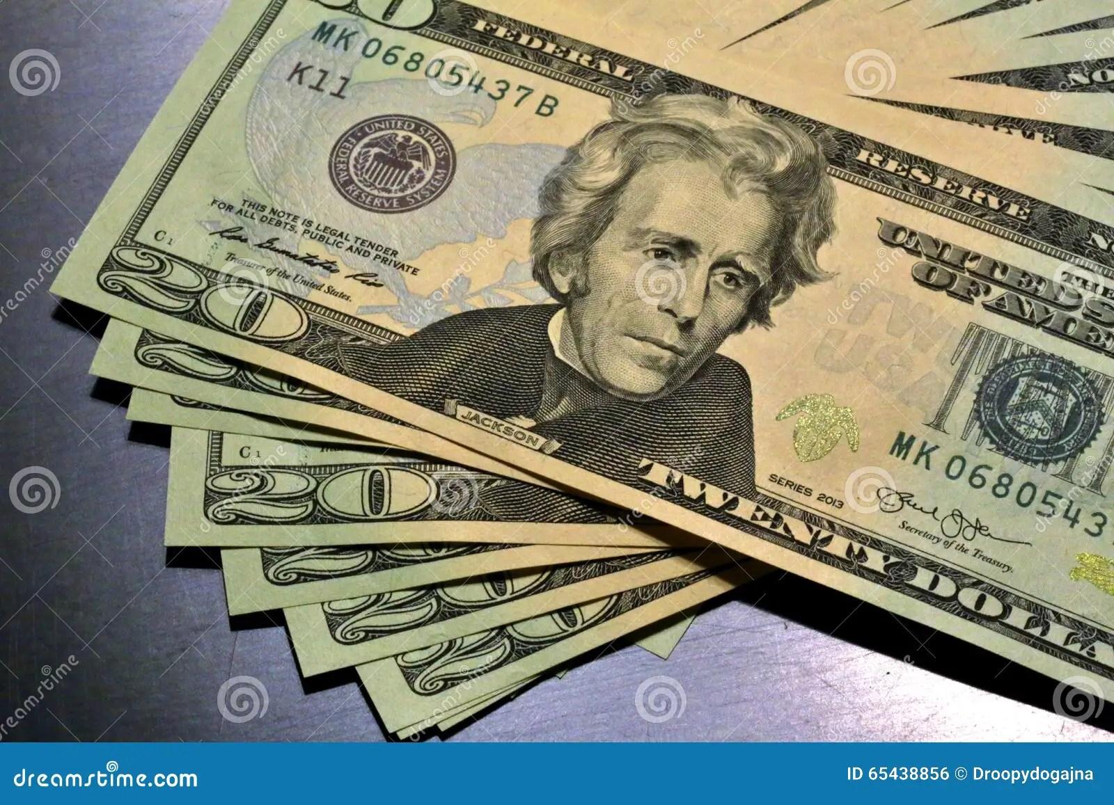 Money Pile 20 Dollar Bills Stock Photo
