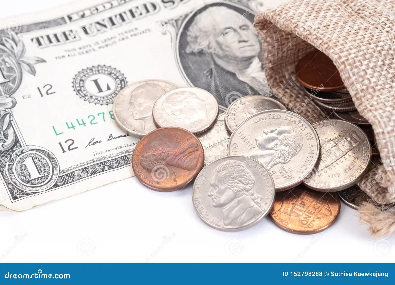 Money Us Dollars Bank Notes Penny Nickel Dime Quarter