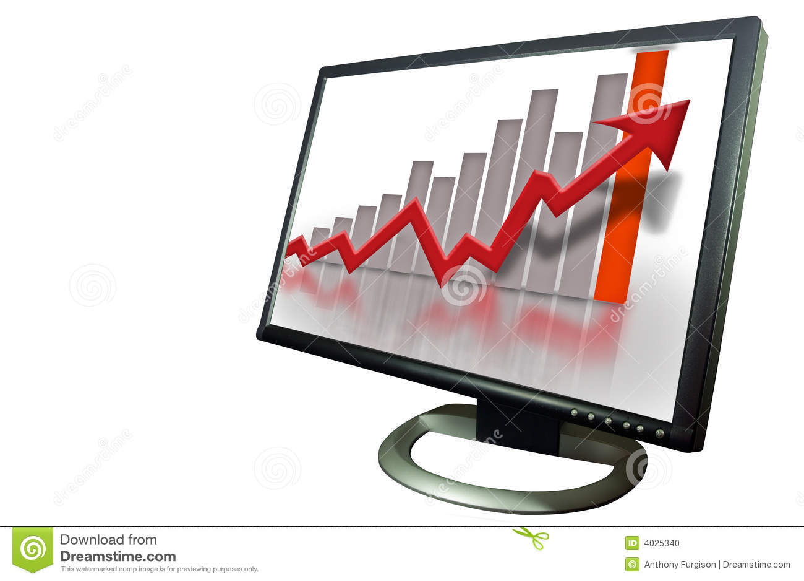 Monitor Financial Bar Graph Chart Stock Illustration