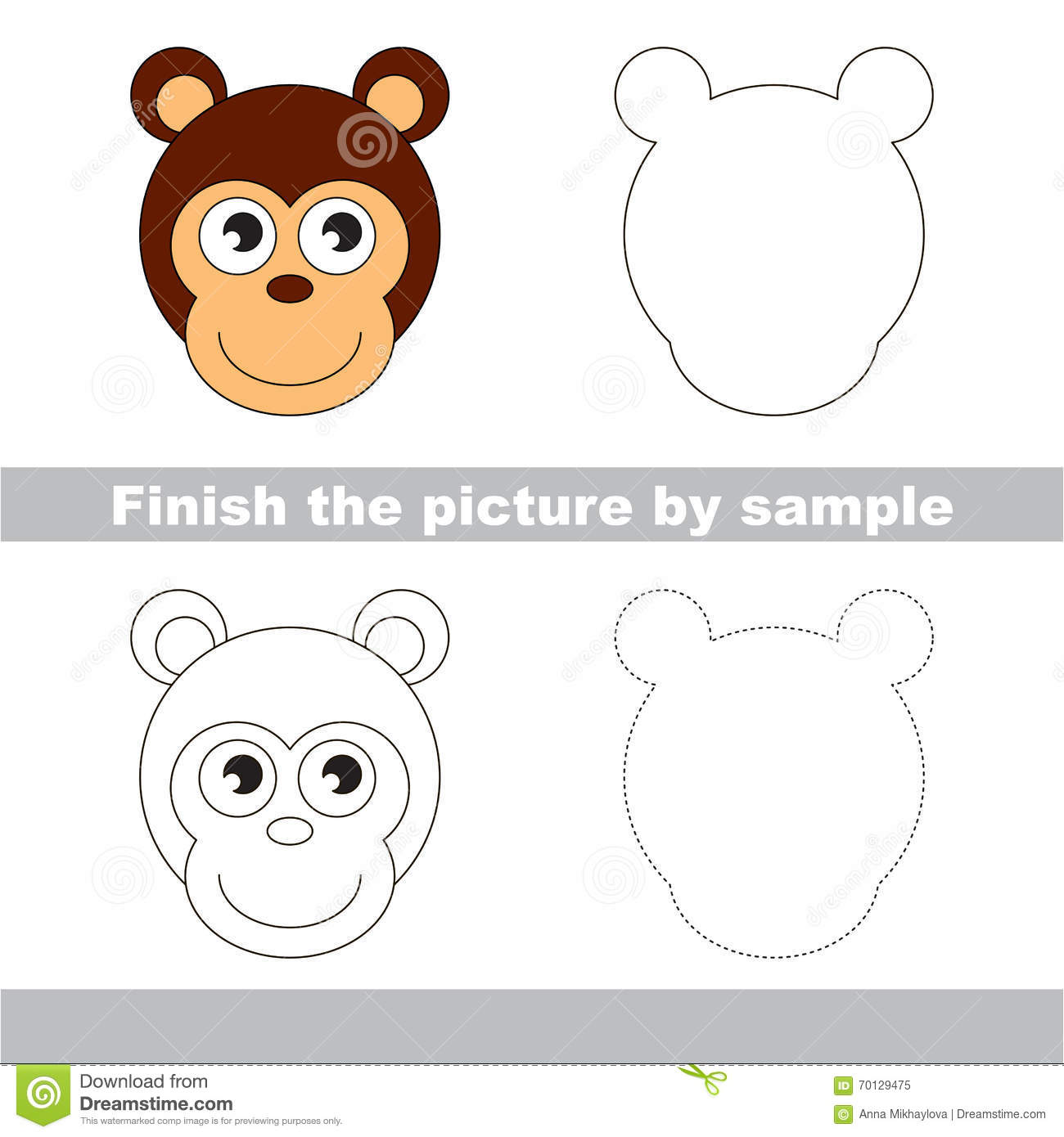 Monkey Drawing Worksheet Stock Vector Illustration Of