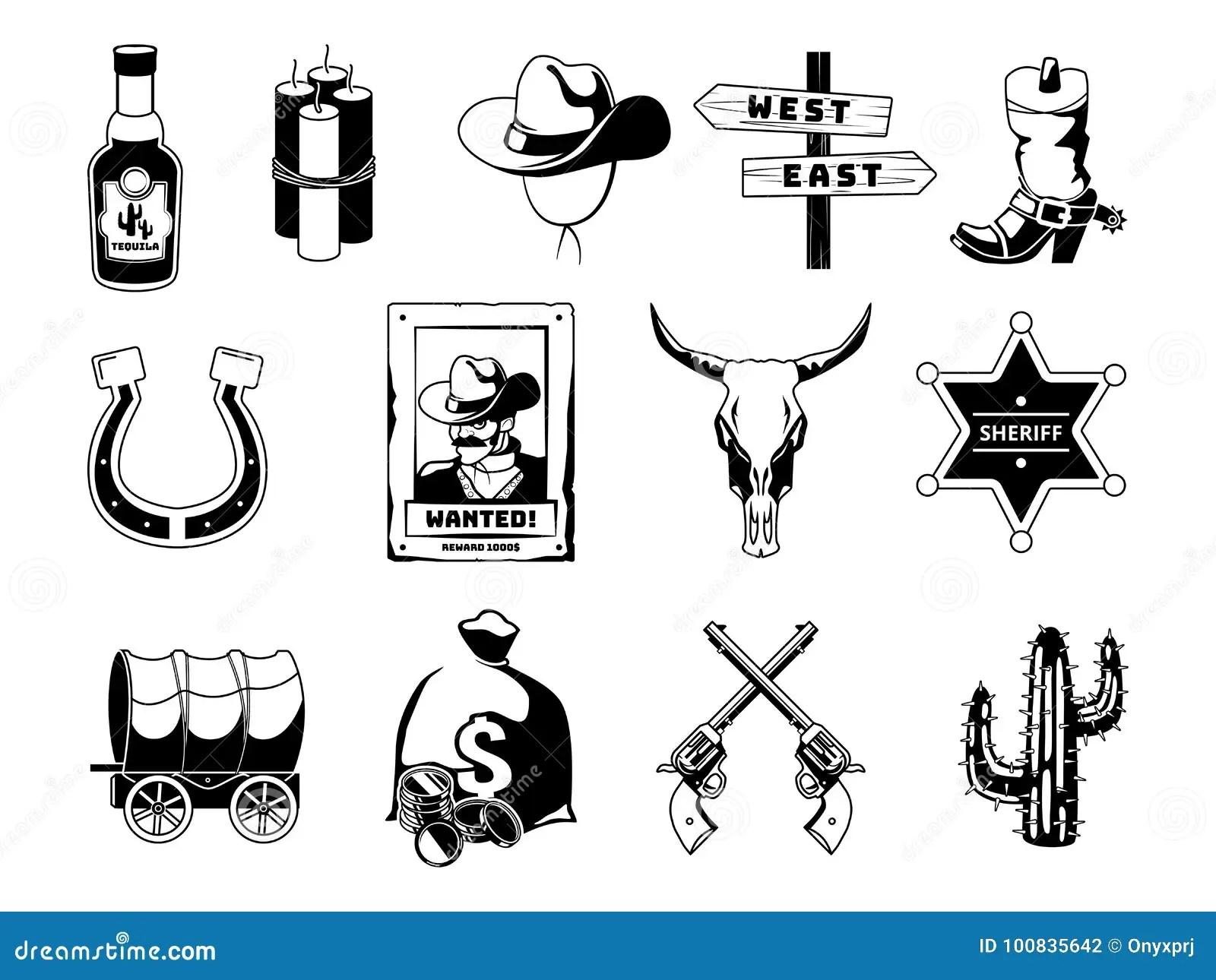 Monochrome Black Illustrations Theme Of Wild West Cowboy
