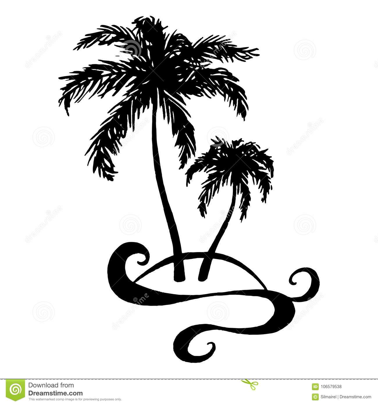 Monochrome Black And White Two Tropical Palm Tree Sea