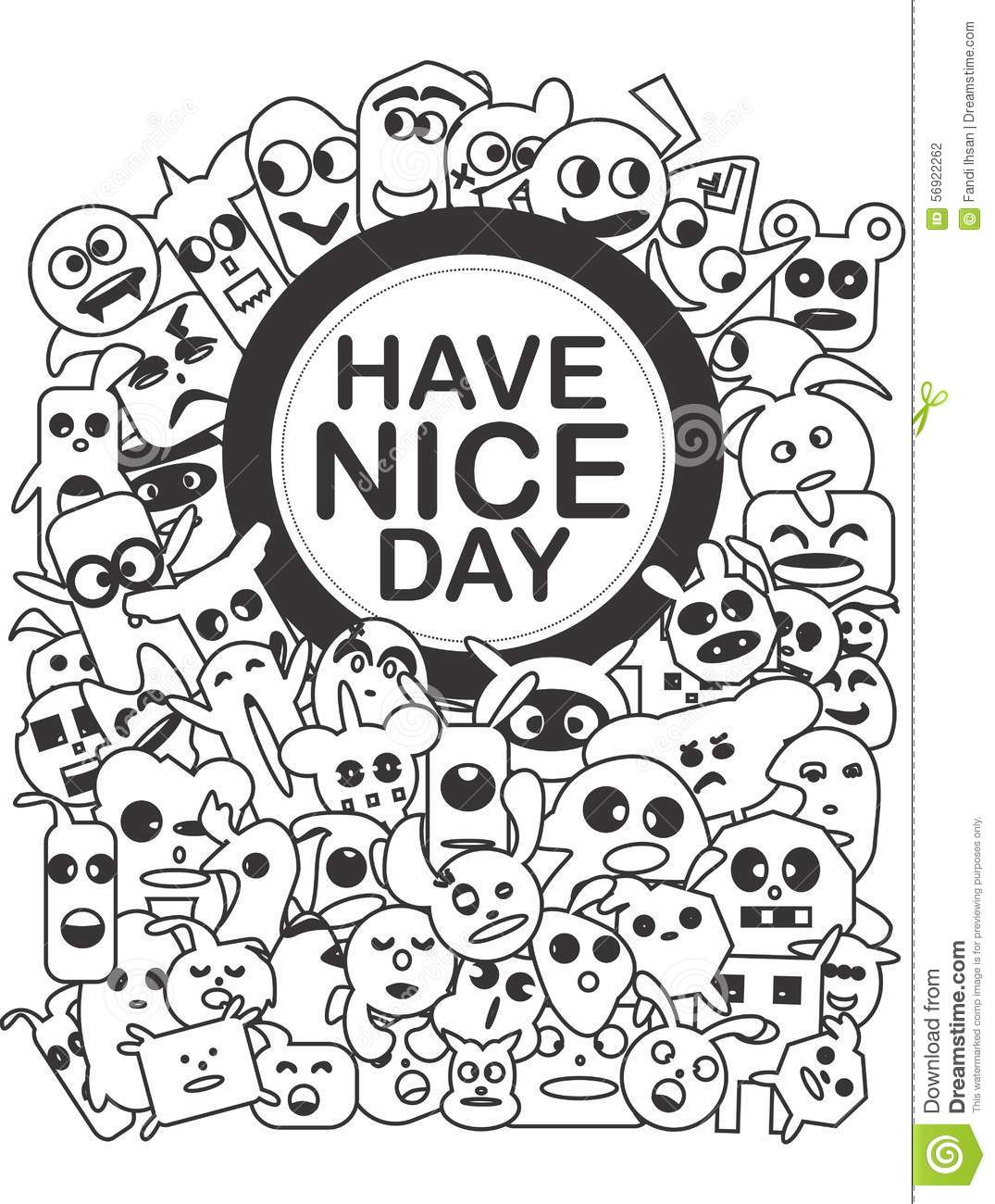 Monochrome Doodle Art Have Nice Day Stock Illustration