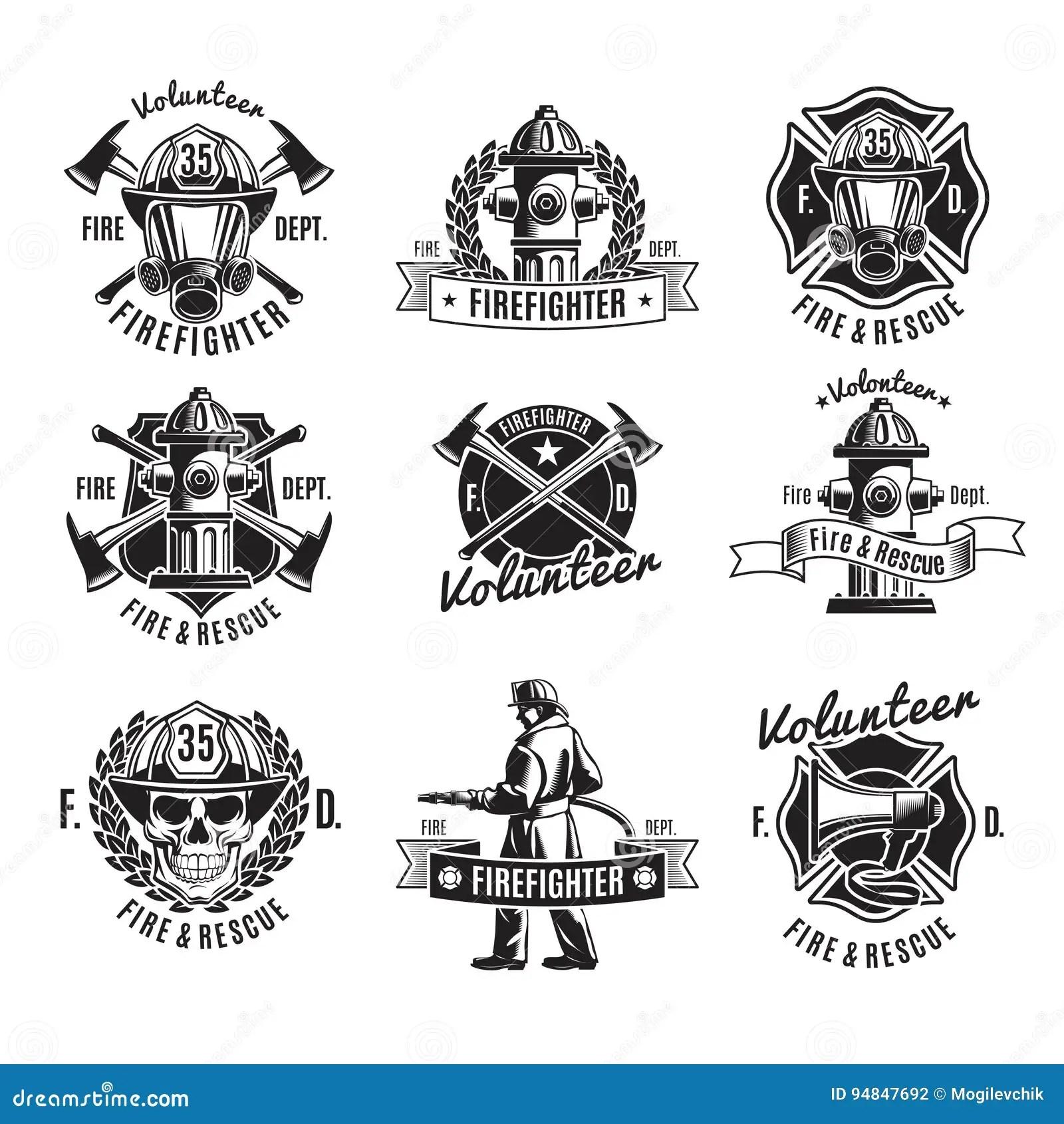 monochrome firefighting labels set stock vector