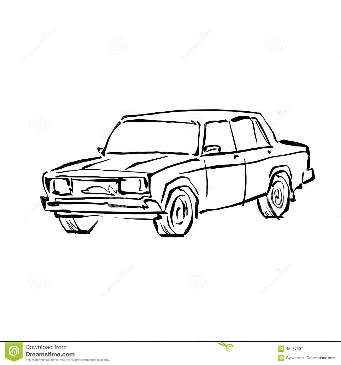 Monochrome Hand Drawn Car On White Background Stock Vector