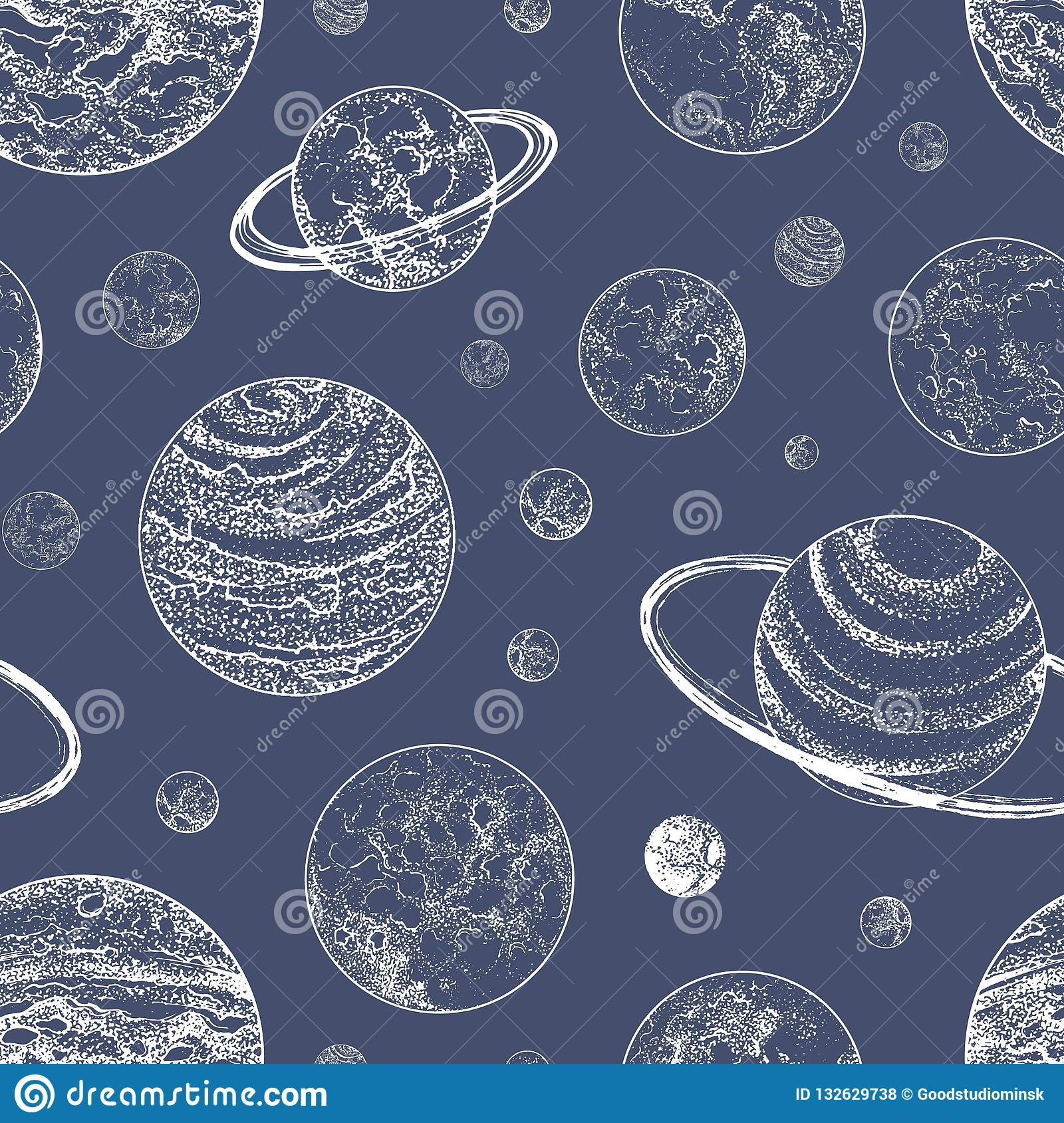 Monochrome Seamless Pattern With Planets And Other